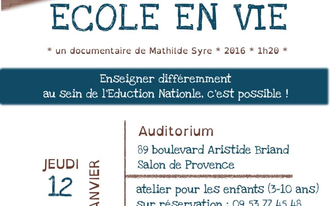 Ciné-débat Ecole en vie le 12/01 à 19h